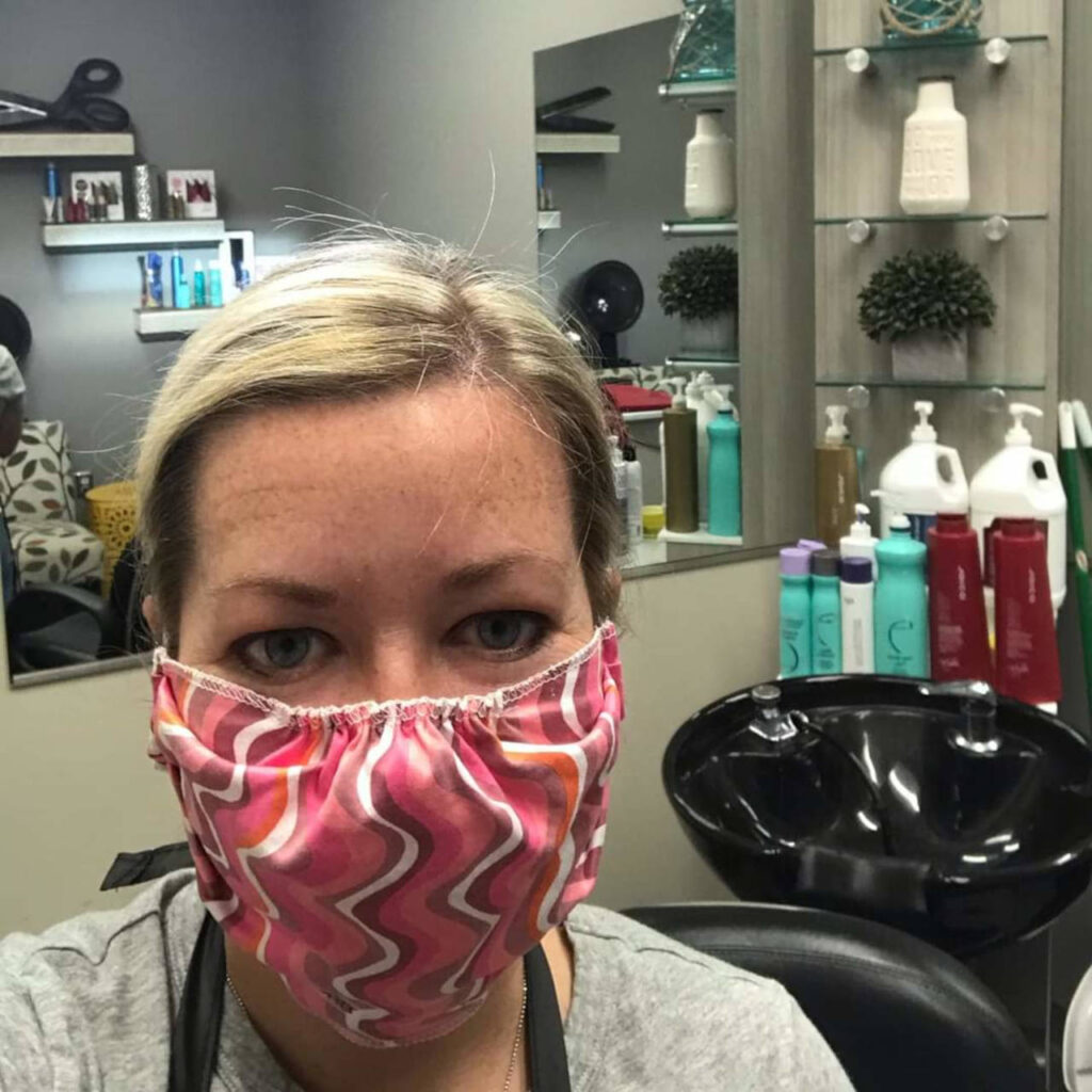 Amanda in salon pink mask bg